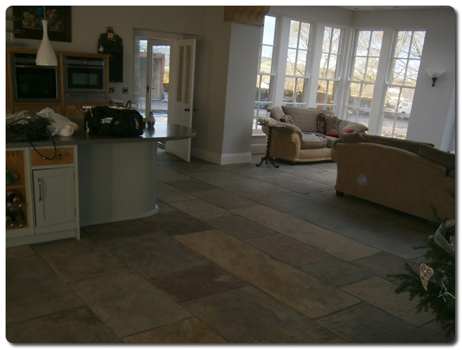 York Stone Flooring In Kitchen